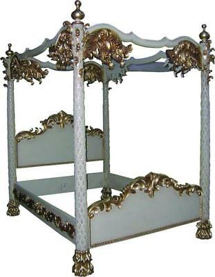 6' Super King Four Poster Bed White & Gold Leaf Hand Carved Palm Tree Columns