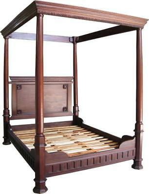 6' Super King Size Four Poster Bed American Gothic Style Carved Solid Mahogany