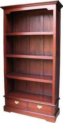 Solid Mahogany Tall Bookcase H 180cm x W 97cm x D 34cm Antique Repro 2 Drawers
