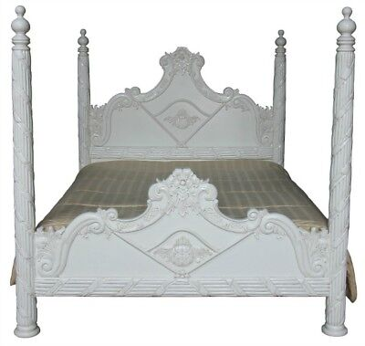 6' Super King Size Four Poster Bed White Carved Mahogany Pillars Like Columns