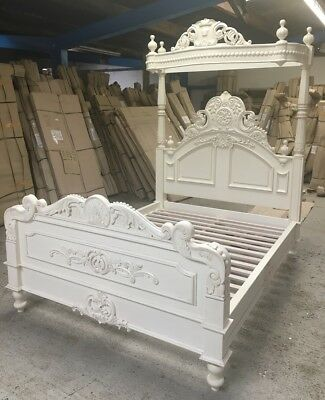 5' King Size Four Poster Bed Victorian Half tester In White Solid Wood + Canopy