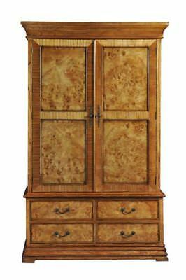 Richmond 2 Short Door 4 Drawer Burr Walnut Small Wood Wardrobe Repro Antique