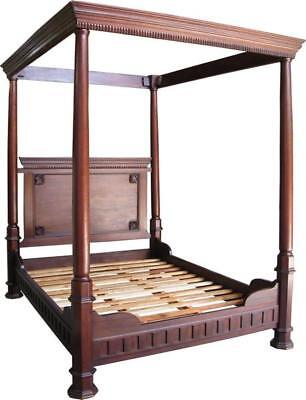 5' King Size Four Poster Bed American Gothic Style Carved Solid Mahogany