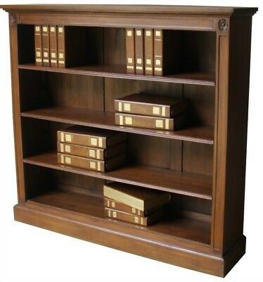 Antique Style Solid Mahogany Low & Wide Bookcase H130 x W120 x D31cm No Assembly
