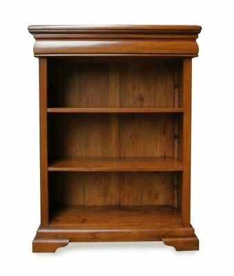Antique Style Solid Mahogany Low Sleigh Bookcase H120 x W90 x D34cm