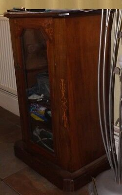 Victorian Inlaid Walnut Music Cabinet Glazed Small Cupboard