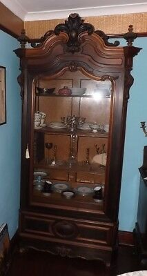 Rosewood Antique Large Tall Display Cabinet Birds Eye Maple Interior
