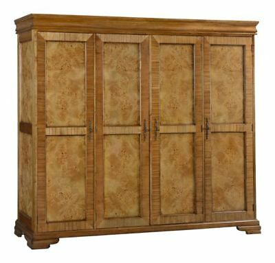 Richmond 4 Door Burr Walnut Large Wood Wardrobe Repro Antique H195xW230xD60cm