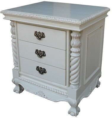 Chippendale Style Quality Carved 3 Drawer Bedside Table Antique White Finish