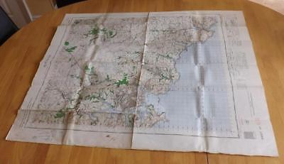 1962 War Office Vintage UK Navigation Planning Chart Aviation RARE Map Plymouth