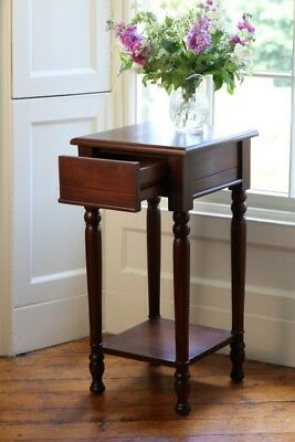 Solid Carved Mahogany 78cm Tall Single Drawer Lamp Table Antique Design