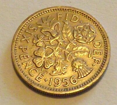 1956 Silver Coin Lucky Sixpence 6d - Great Britain Uncleaned Coin Elizabeth II