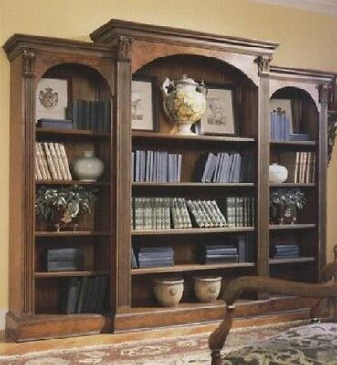 Huge Triple Walnut Bookcase with Fluted Columns Antique Reproduction