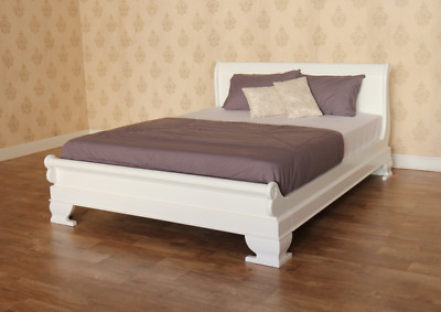 Quality Mahogany White Sleigh Design Low Foot Board 5' UK King Sized Wooden Bed