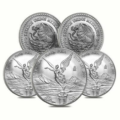 Lot of 5 - 2019 1/4 oz Mexican Silver Libertad Coin .999 Fine BU