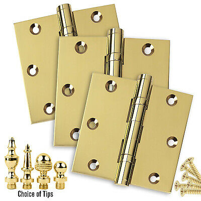 Door Hinges 3.5 x 3.5 Solid Brass Ball Bearing Polished Brass With Tips Set of 3