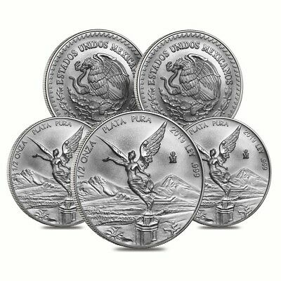Lot of 5 - 2019 1/2 oz Mexican Silver Libertad Coin .999 Fine BU