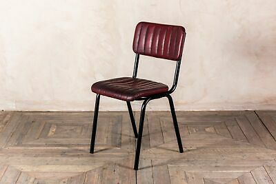 Stacking Dining Chair In Vintage Red Ribbed Faux Leather, Cafe Restaurant Chair