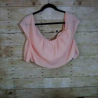 3a58e2f9c17 Tobi Womens Size Small Crop Top Pink Short Sleeve Sheer Layered Light Weight