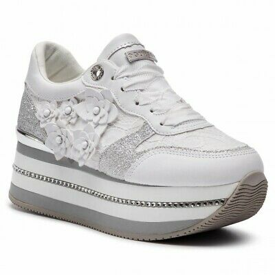 super popular a39e0 d14a0 GUESS FL5HIN LAC12 Hinder Sneakers Scarpe Donna Pizzo Platform Tessuto White