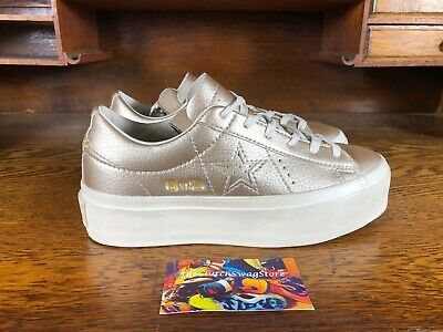 Converse One Star Platform Ox Womens Gold White Shoes 559924C NEW Sz 6 MSRP   90 8fce6c561