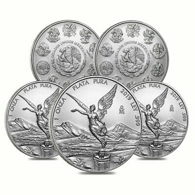 Lot of 5 - 2019 1 oz Mexican Silver Libertad Coin .999 Fine BU