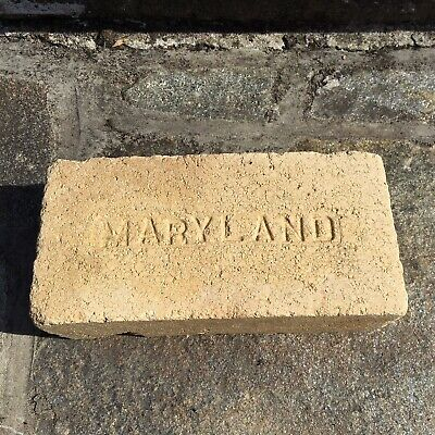 Antique Reclaimed Fire Brick Stamped Maryland Debossed Early 1900s