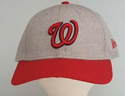 outlet store 30615 8f91e Washington Nationals New Era 9FORTY MLB Adjustable Strap Hat Cap 940 Gray  Red