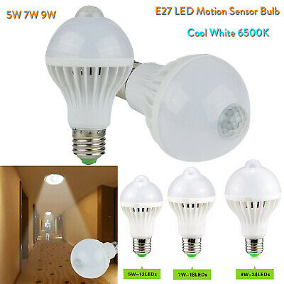 Auto E27 LED Bulb Night Light Motion Sensor Corridor Lamp 5W 7W 9W 220V RC741