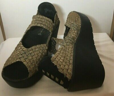 08870ae3cd8 STEVEN by STEVE MADDEN OPEN TOE GOLD BLACK STRETCH WOMEN S 8.5 M WEDGE SHOES