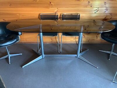 Mid Century Modern 1970's Dining Table and Seven Chairs - Vintage.