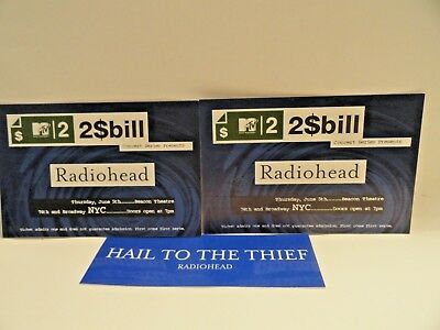 Radiohead Hail To The Thief Mtv Concert Tickets, Promo Sticker, June 5Th, 2003