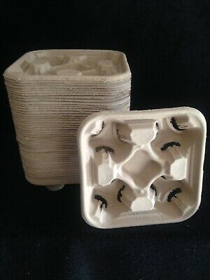 Disposable Coffee Cup Holder 4 Cardboard Drinks Tray Takeaway - 50