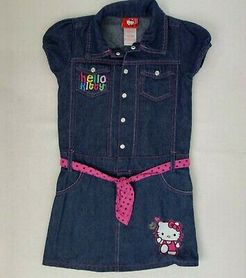 Hello Kitty Girls 8 Short Sleeve Denim Dress Pink Belt Silver Snaps Collar UU11