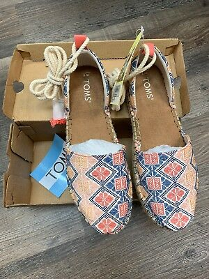 05dd5a03e22 NEW TOMS Natural Geo Embroidered Woven KATALINA Espadrilles Ankle Tie Shoes  Sz 8