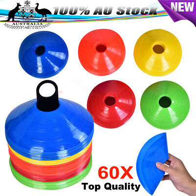 60pcs Training Discs Markers Cones Soccer Rugby Fitness Exercise Sports 5 Colour