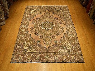 6.6 x 10 Hand Knotted Antique Persian Oriental Wool Rug _Vintage Mutted Colors