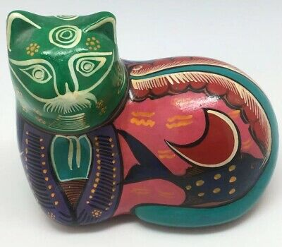 Vintage Cat Art Pottery Hand Painted Glazed Clay Signed Covelo Pascual Mexico