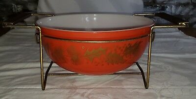 Vintage Pyrex Mixing Bowl Red Pine Cones & Holly Christmas Winter With Stand
