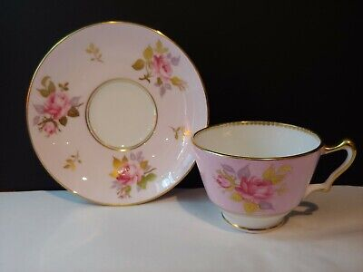 Crown Staffordshire Pink Roses Tea Cup And Saucer