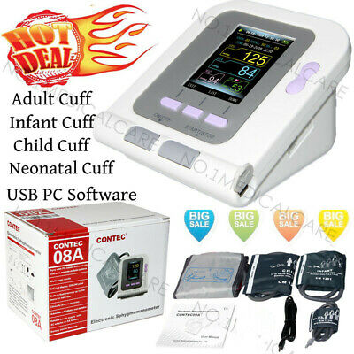 Color LCD Digital Blood Pressure Monitor, Adult+Infant+Child+Neonatal 4 Cuffs,SW