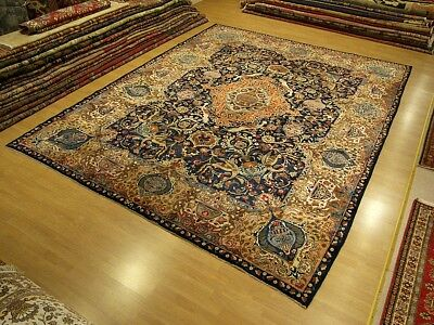 10 x 13 Singed Antique Handmade High Quality Persian Pictorial Kashmar Wool Rug