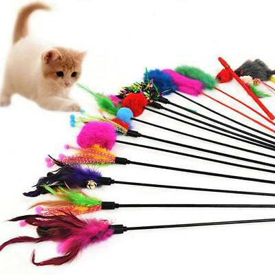 4x Kitten Pet Teaser Turkey Feather Interactive Fun Toy Wire Chaser Wand For Cat