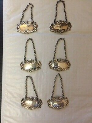 Fine Vintage Replica Set of 6  Sterling Silver Decanter and Bottle Tags / Labels