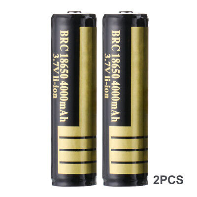 2x 3.7V 4000mAh BRC 18650 Li-ion Rechargeable Battery for Flashlight Torch BC826