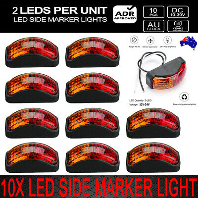 10 X 2 LED CLEARANCE LIGHTS SIDE MARKER LAMP RED AMBER TRAILER TRUCK 10-30 Volt