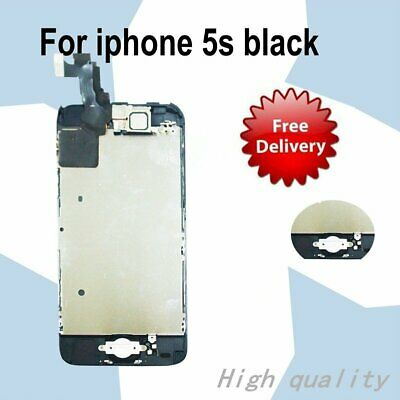 UK For Touch LCD Digitizer Screen Replacement Home Button+Camera Black iPhone 5S
