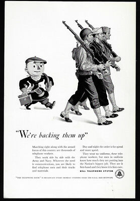 1942 Vintage Print Ad 40's BELL TELEPHONE system soldiers marching war WWII art