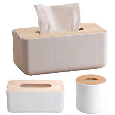 Tissue Box Holder Wooden Cover Napkin Storage Organizer Bathroom Accessories AU