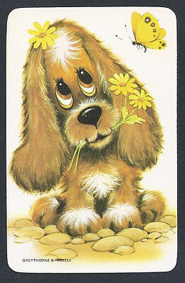 #920.412 Blank Back Swap Cards -MINT- Dog with yellow flowers & butterfly